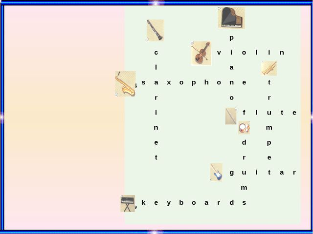 1 2 p c 3 v i o l i n l a 5 4 s a x o p h o n e t r o r i 6 f l u t e n 7 m...