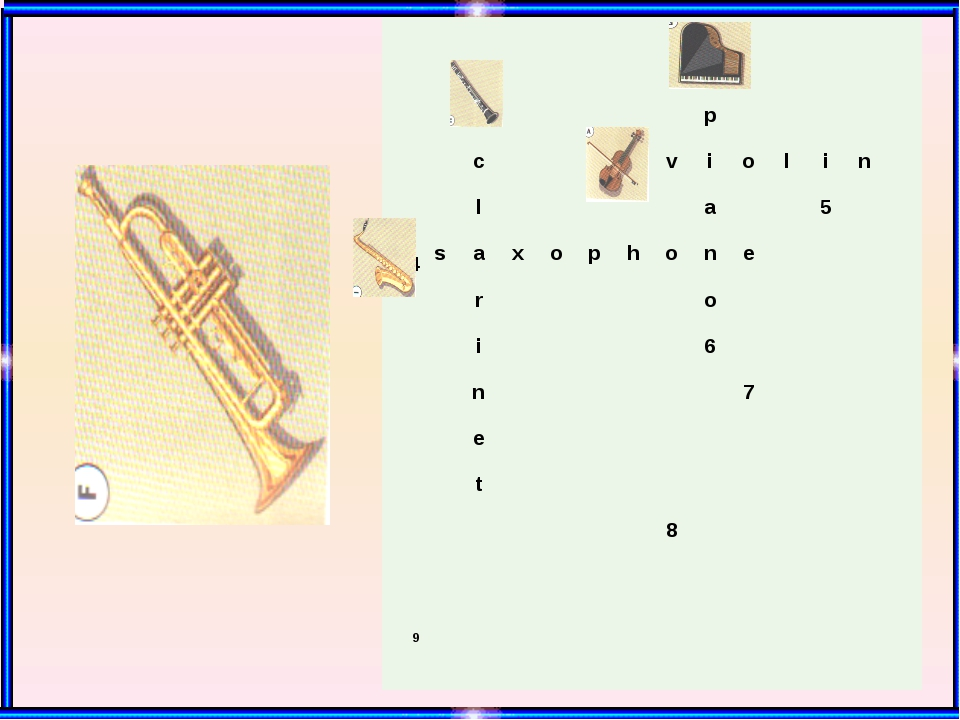 1 2 p c 3 v i o l i n l a 5 4 s a x o p h o n e r o i 6 n 7 e t 8 9