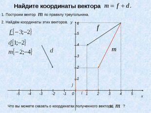 y x 1 2 3 4 5 -3 -2 -1 0 1 2 3 4 5 -4 -5 6 Найдите координаты вектора 1. Пост