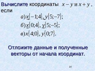 Вычислите координаты , если Отложите данные и полученные векторы от начала ко
