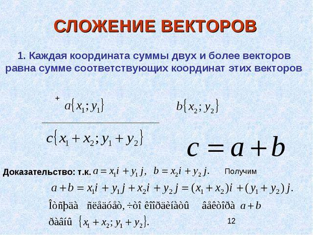 СЛОЖЕНИЕ ВЕКТОРОВ 1. Каждая координата суммы двух и более векторов равна сумм...