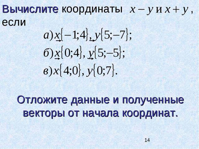 Вычислите координаты , если Отложите данные и полученные векторы от начала ко...