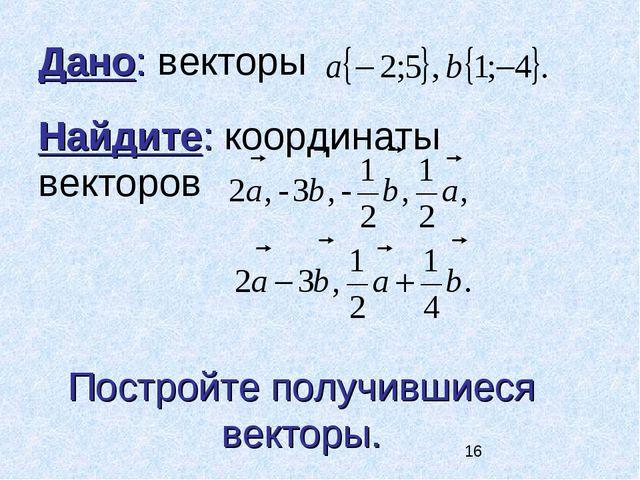 Дано: векторы Найдите: координаты векторов Постройте получившиеся векторы.