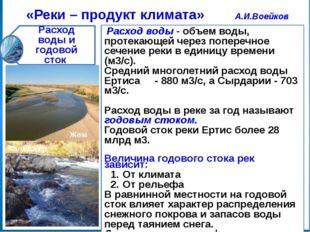 «Реки – продукт климата» А.И.Воейков Тип питания рек Равнинные реки Горные р
