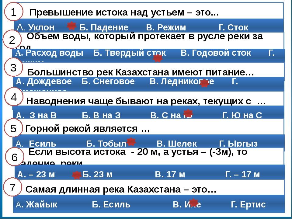 Готовимся к ВОУД 1 Реки Казахстана, длина которых превышает 1000 км Ертис, Ес...