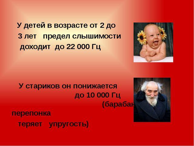 У детей в возрасте от 2 до 3 лет предел слышимости доходит до 22 000 Гц У ст...