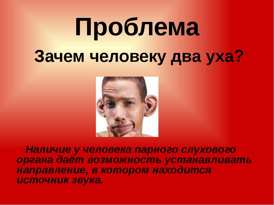 Проблема Зачем человеку два уха? Наличие у человека парного слухового органа...