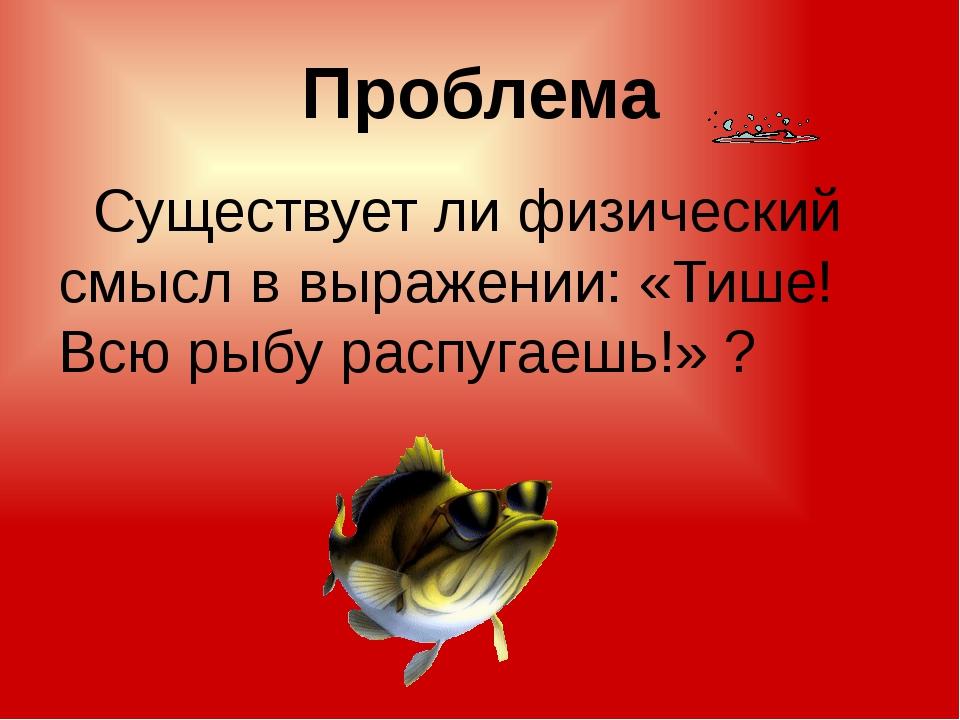 Проблема Существует ли физический смысл в выражении: «Тише! Всю рыбу распугае...