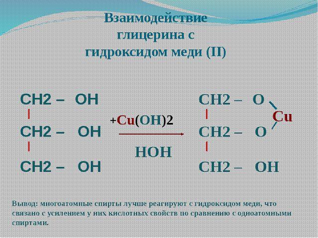 Взаимодействие глицерина с гидроксидом меди (II) Вывод: многоатомные спирты л...