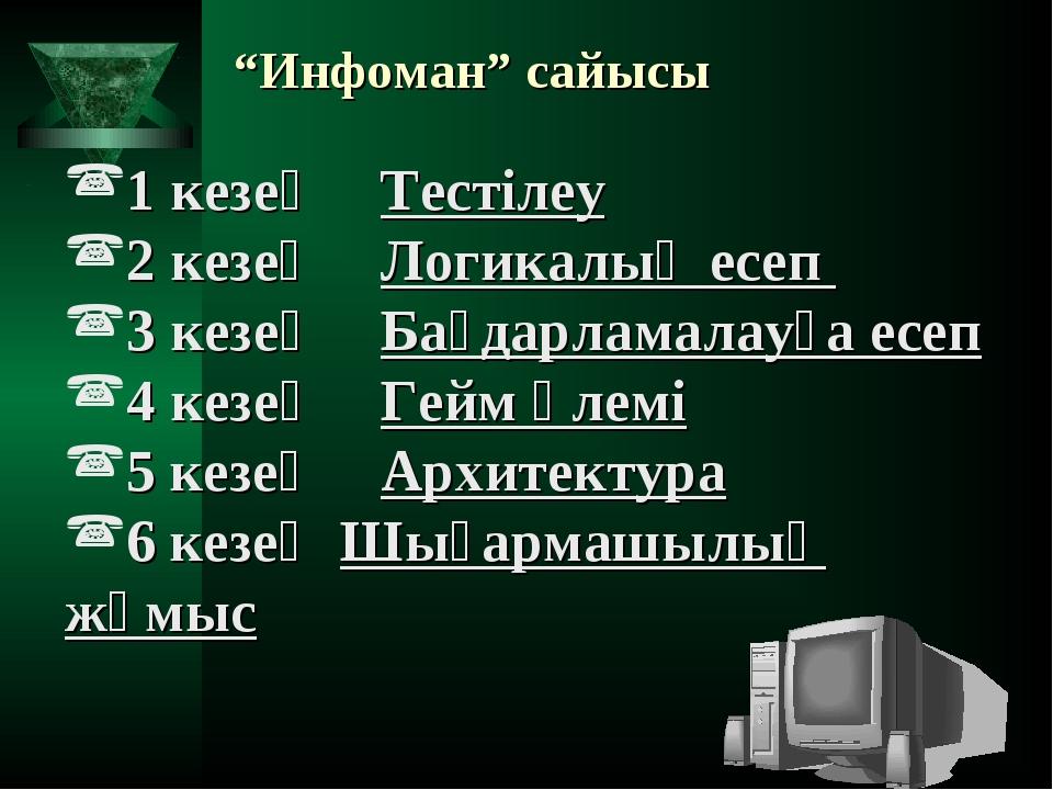 """""""Инфоман"""" сайысы 1 кезең Тестілеу 2 кезең Логикалық есеп 3 кезең Бағдарлам..."""
