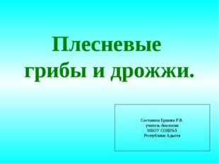 Плесневые грибы и дрожжи. Составила Ершова Р.В. учитель биологии МБОУ СОШ№5 Р