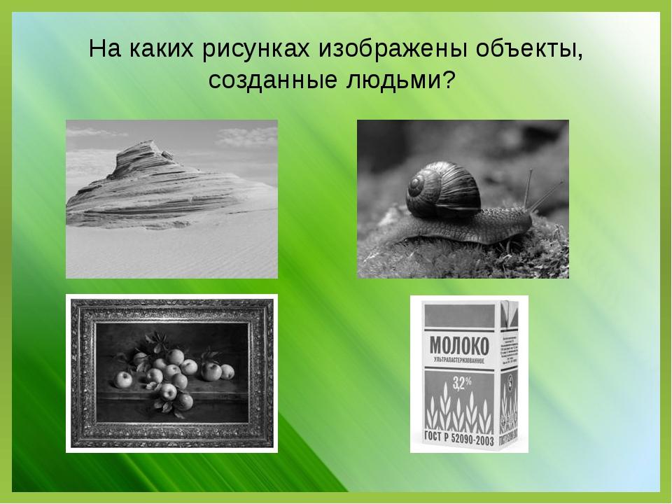На каких рисунках изображены объекты, созданные людьми?