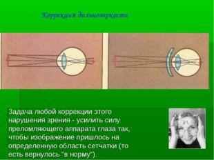Задача любой коррекции этого нарушения зрения - усилить силу преломляющего ап