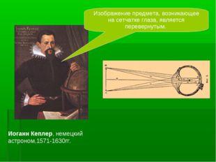 Иоганн Кеплер, немецкий астроном,1571-1630гг. Изображение предмета, возникающ
