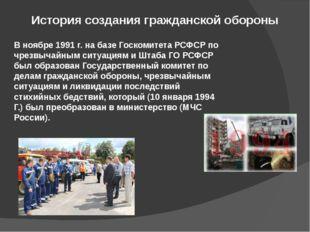 История создания гражданской обороны В ноябре 1991 г. на базе Госкомитета РСФ