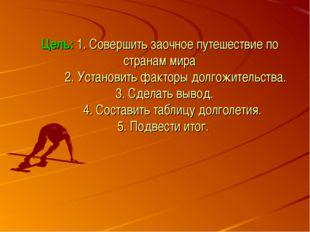 Цель: 1. Совершить заочное путешествие по странам мира 2. Установить факторы
