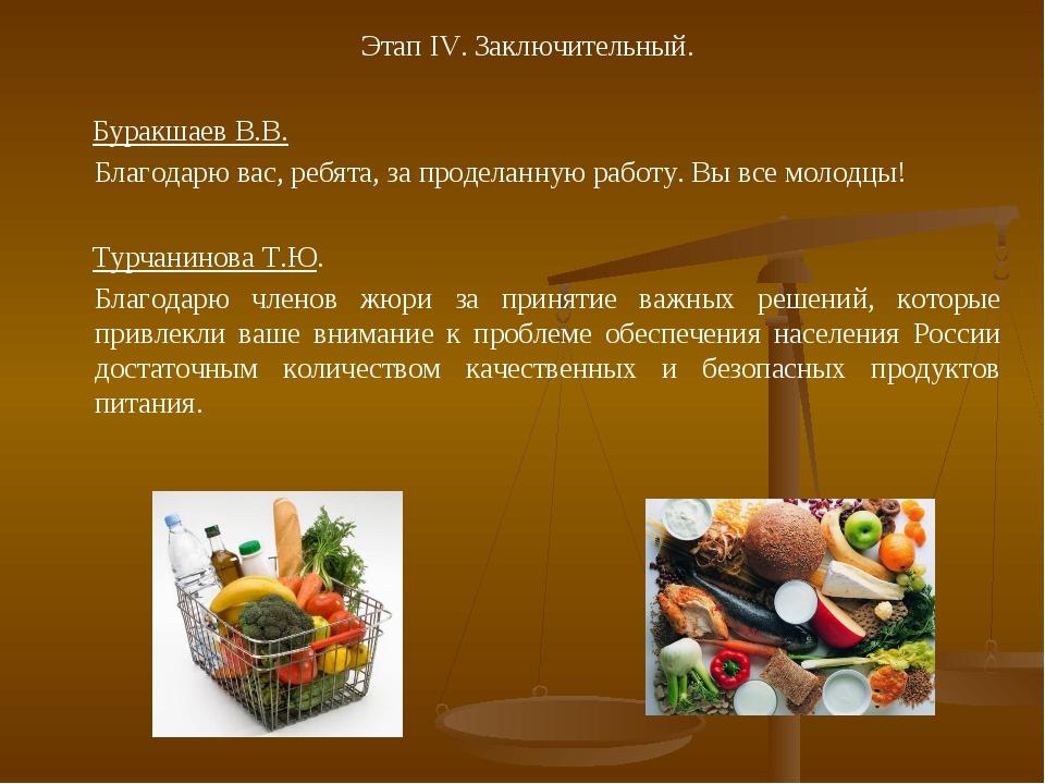 Этап IV. Заключительный. Буракшаев В.В. Благодарю вас, ребята, за проделанну...