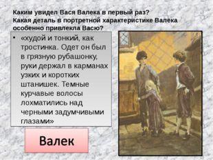 Каким увидел Вася Валека в первый раз? Какая деталь в портретной характеристи