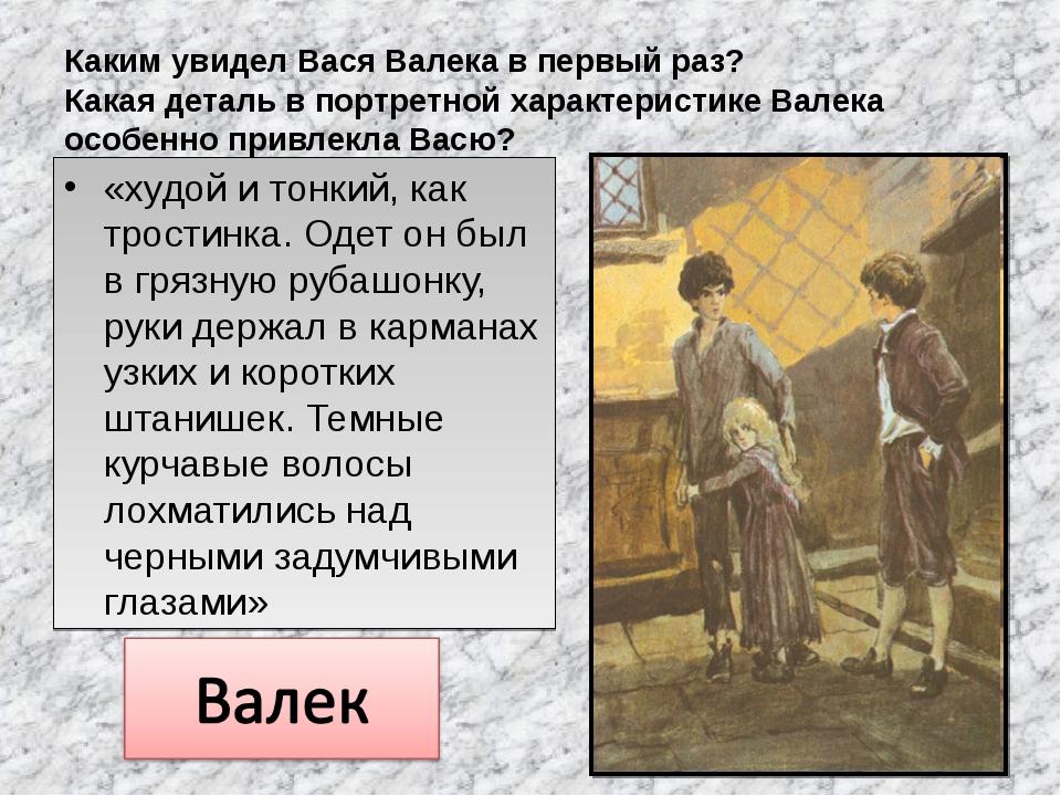 Каким увидел Вася Валека в первый раз? Какая деталь в портретной характеристи...