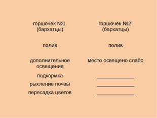 горшочек №1 (бархатцы) горшочек №2 (бархатцы) полив полив дополнительное осве