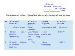 «Бекітемін» Колледж директоры ___________А.С.Қарабаева «_____»___________201