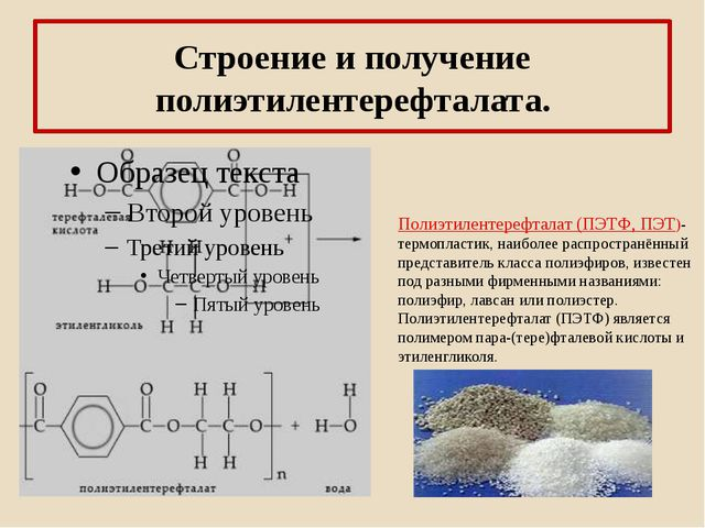 Строение и получение полиэтилентерефталата. Полиэтилентерефталат (ПЭТФ, ПЭТ)-...