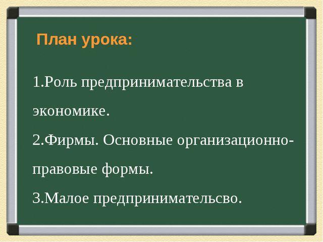 План урока: Роль предпринимательства в экономике. Фирмы. Основные организаци...