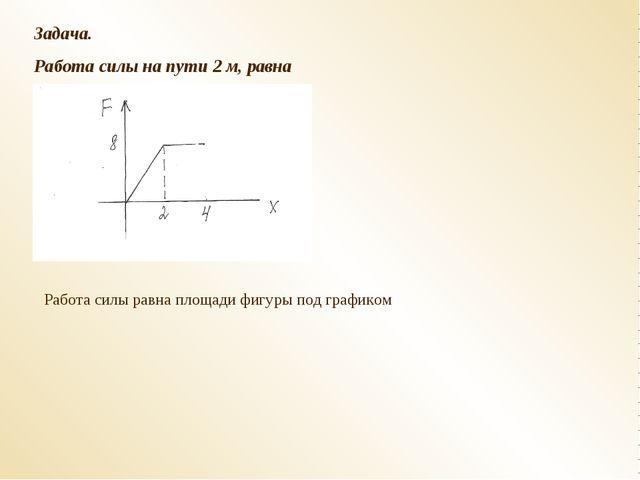 Задача. Работа силы на пути 2 м, равна Работа силы равна площади фигуры под г...