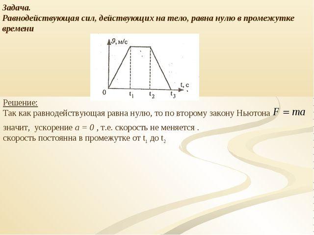 Задача. Равнодействующая сил, действующих на тело, равна нулю в промежутке вр...