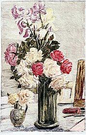 Кругликова, Елизавета Сергеевна. Париж. Букет роз. 1911. Бумага, монотипия.