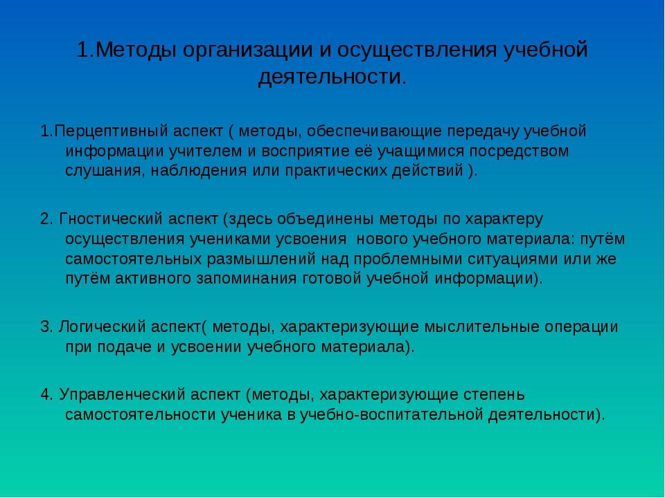 1.Методы организации и осуществления учебной деятельности. 1.Перцептивный асп...