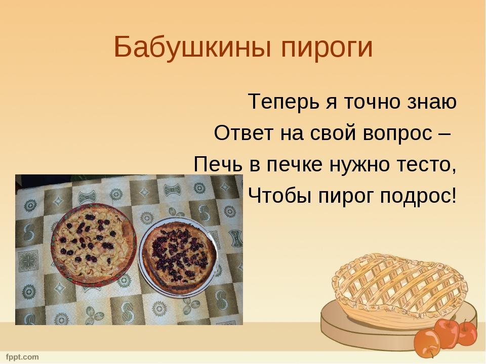 Бабушкины пироги Теперь я точно знаю Ответ на свой вопрос – Печь в печке нужн...