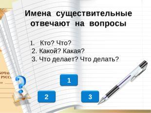 Имена существительные отвечают на вопросы 1. Кто? Что? 2. Какой? Какая? 3. Ч
