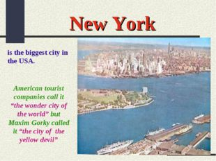 """New York is the biggest city in the USA. American tourist companies call it """""""