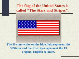 """The flag of the United States is called """"The Stars and Stripes"""". The 50 stars"""