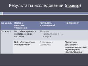 Урок 2 Результаты исследований (пример) № урока, Номер и название упражнения