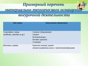 Примерный перечень материально-технического оснащения внеурочной деятельности