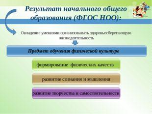 Результат начального общего образования (ФГОС НОО): Предмет обучения физическ