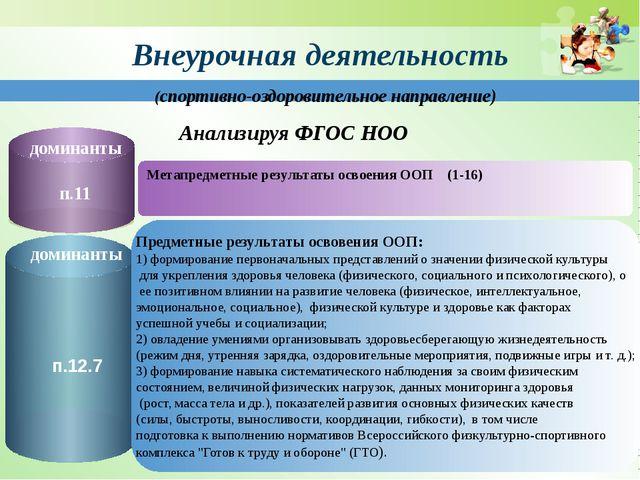 Внеурочная деятельность Метапредметные результаты освоения ООП (1-16) Анализ...
