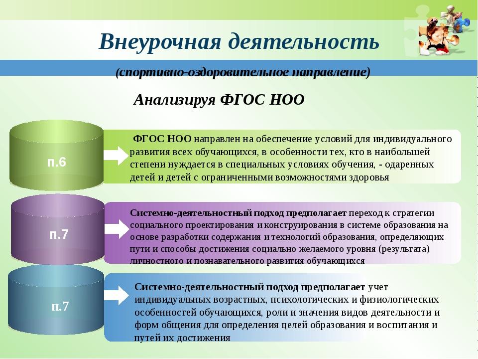 Внеурочная деятельность ФГОС НОО направлен на обеспечение условий для индиви...