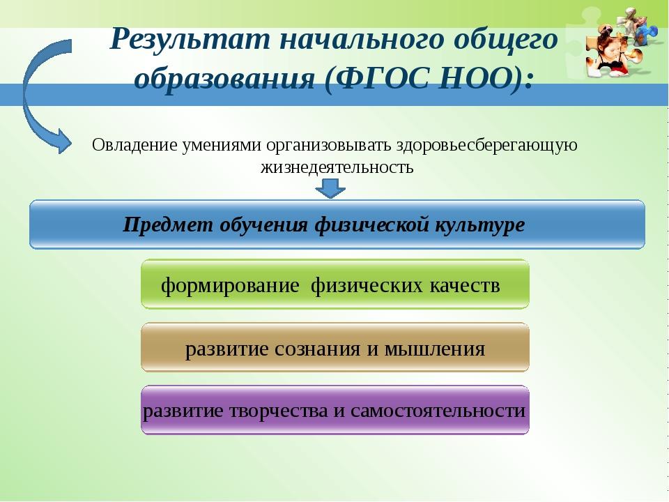 Результат начального общего образования (ФГОС НОО): Предмет обучения физическ...