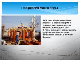 Профессия моего папы Мой папа Игорь Витальевич работает в частной фирме и за