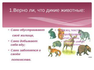 1.Верно ли, что дикие животные: Сами обустраивают своё жилище, Сами добывают
