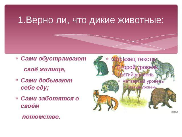 1.Верно ли, что дикие животные: Сами обустраивают своё жилище, Сами добывают...
