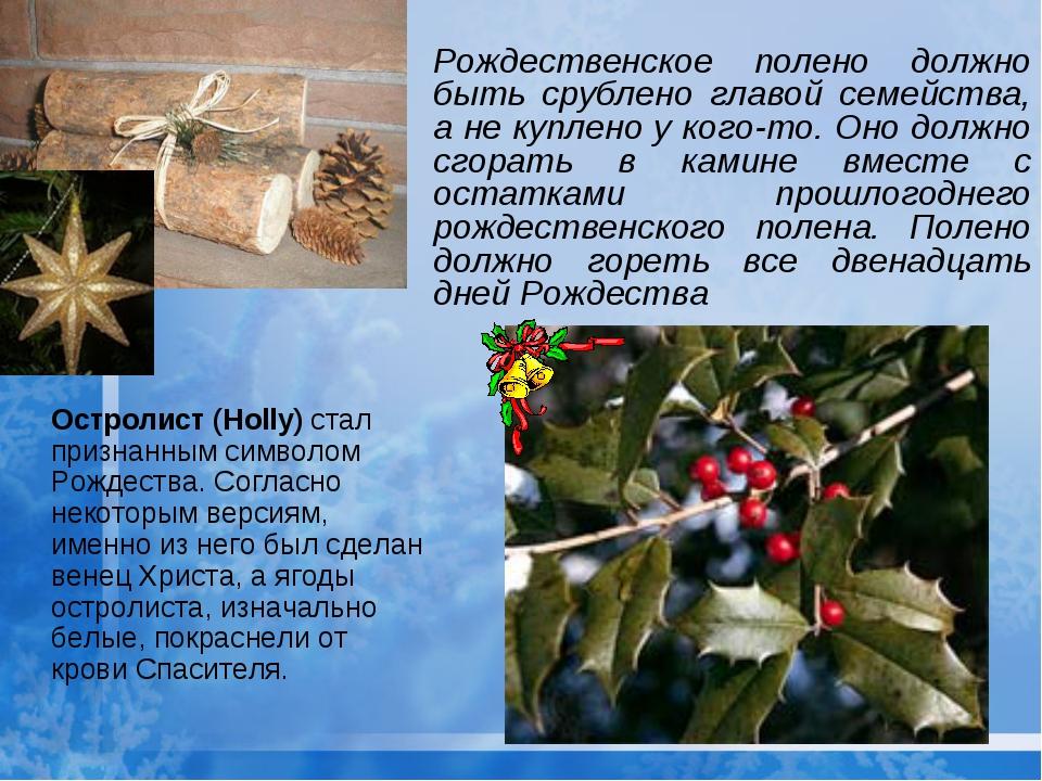 Рождественское полено должно быть срублено главой семейства, а не куплено у к...