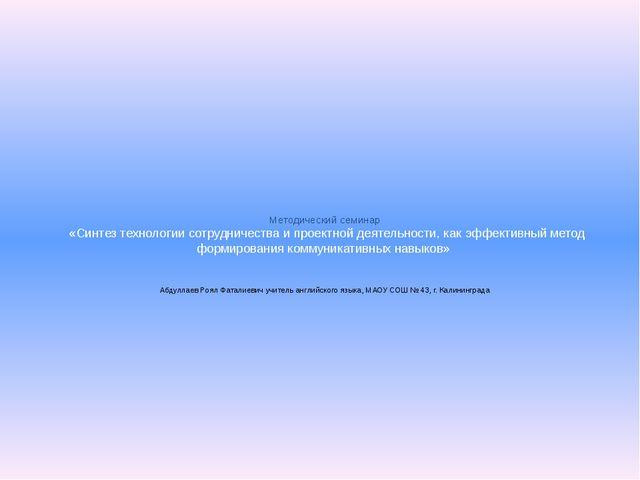 Методический семинар «Синтез технологии сотрудничества и проектной деятельно...