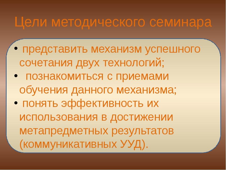 Цели методического семинара представить механизм успешного сочетания двух тех...