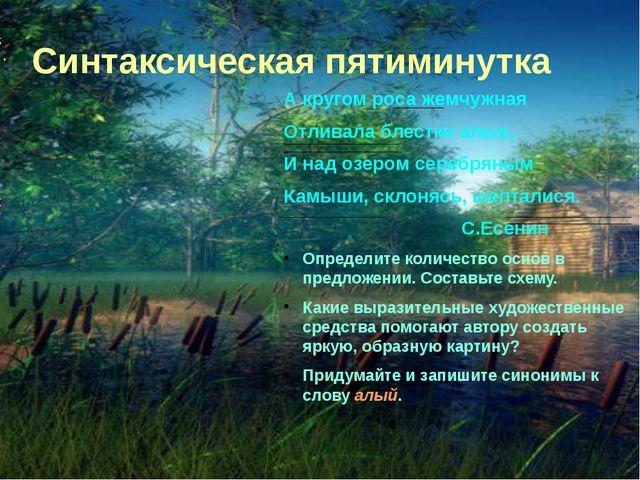 Синтаксическая пятиминутка А кругом роса жемчужная Отливала блестки алые, И н...