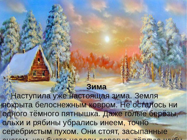 Зима Наступила уже настоящая зима. Земля покрыта белоснежным ковром. Не ос...