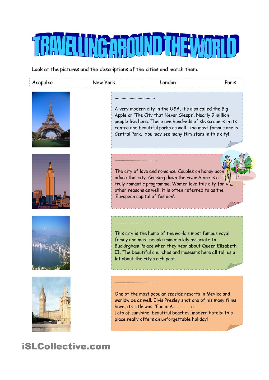 TRAVELLING AROUND THE WORLD I. | FREE ESL worksheets